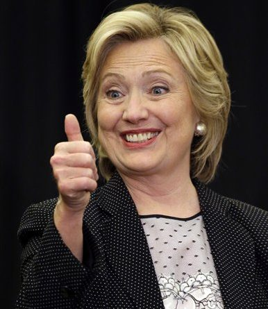 Democratic presidential candidate Hillary Rodham Clinton gives a thumbs up at the University of Wisconsin-Milwaukee, Thursday, Sept. 10, 2015, in Milwaukee. (AP Photo/Morry Gash)